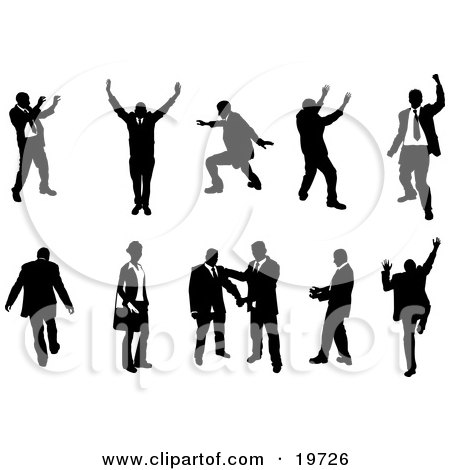 Clipart Illustration of a Silhouetted Collection Of Businesspeople Doing Different Poses by AtStockIllustration