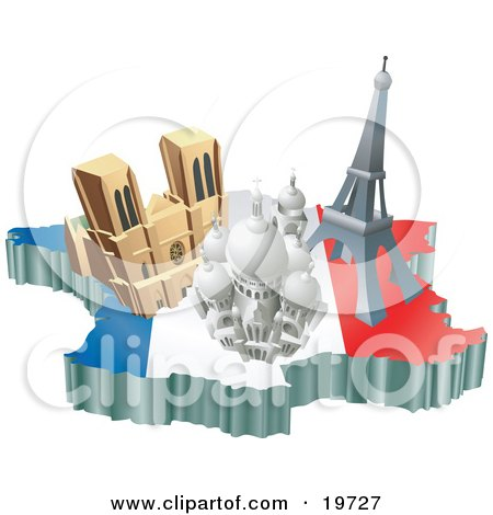Clipart Illustration of French Tourist Attractions; The Basilica Of The Sacred Heart, Eiffel Tower, And The Notre Dame De Paris Cathedral Over A Map And The French Flag by AtStockIllustration