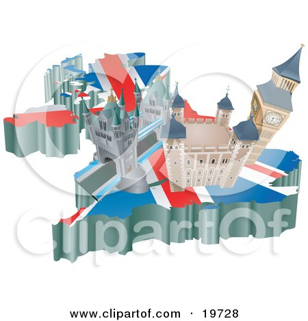 Clipart Illustration of Tourist Attractions In The United Kingdom, The London Bridge, Tower Of London, And Big Ben Over A Map With The Union Jack by AtStockIllustration