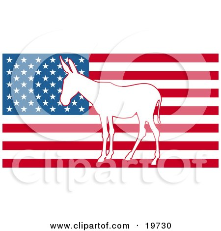 White Silhouette Of A Democratic Donkey In The Center Of The American Flag Posters, Art Prints
