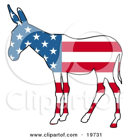 Clipart Illustration of a Democratic Donkey Silhouette With Stars And Stripes Of The American Flag by AtStockIllustration