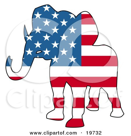 Republican Elephant Silhouette With Stars And Stripes Of The American Flag Posters, Art Prints