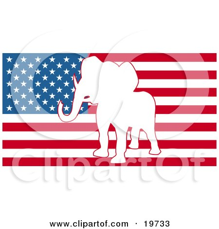 Clipart Illustration of a White Silhouette Of A Republican Elephant In The Center Of The American Flag by AtStockIllustration