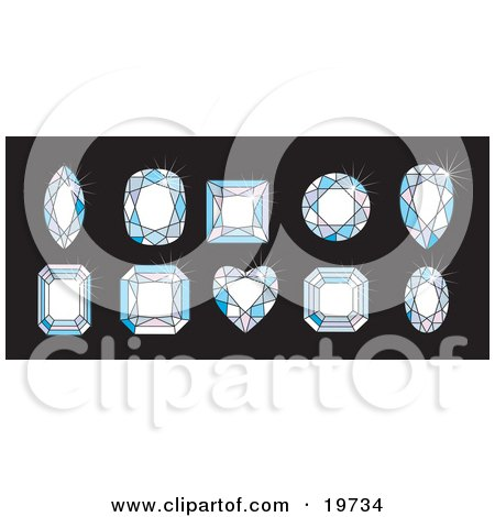 Clipart Illustration of 10 Differently Cut Diamonds In Two Rows Over A Black Background by AtStockIllustration