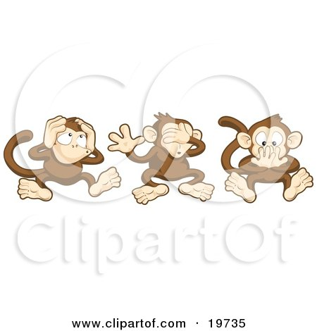 Clipart Illustration Of The Three Wise Monkeys, Mizaru, Kikazaru, And Iwazaru, Covering Their Ears, Eyes And Mouth, Hear No Evil, See No Evil, Speak No Evil by AtStockIllustration