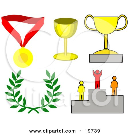 Clipart Illustration of a Collection Of Images Symbolizing Success; Medal, Trophy Cups, Laurel And Winner On A Podium by AtStockIllustration