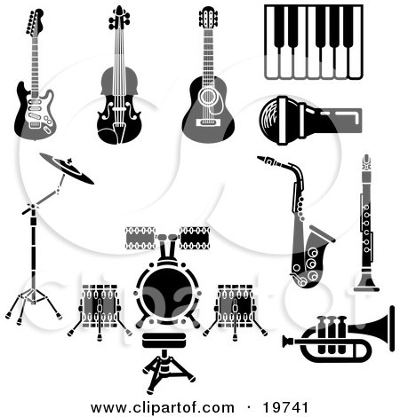 Clipart Illustration of a Collection Of Musical Instruments And Items Including An Electric Guitar, Violin, Acoustic Guitar, Piano Or Keyboard, Microphone, Saxophone, Clarinet, Drum Set And Trumpet by AtStockIllustration
