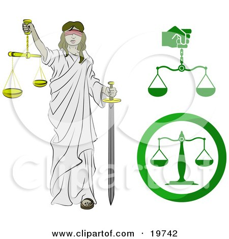 Clipart Illustration of Lady Justice, Blindfolded, Carrying A Sword And Scales by AtStockIllustration