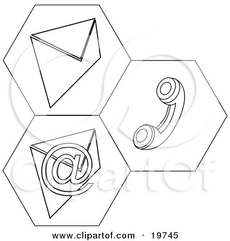 Clipart Illustration of Black And White Contact Icons For Snail Mail, Telephone And Email Information by AtStockIllustration