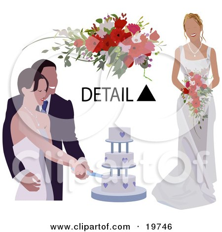 Clipart Illustration of a Happy Bride And Groom Cutting Their Wedding Cake, With A Detail Of A Bouquet And The Bride's Dress by AtStockIllustration