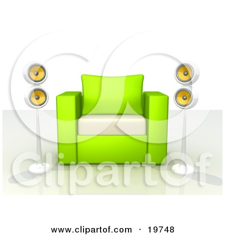 Green And White Chair With Two Surround Sound Speakers Posters, Art Prints
