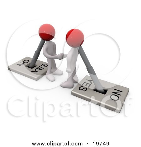 Clipart Graphic of Two White Switch Head Men Turned on to YES, Shaking Hands on a Deal by 3poD