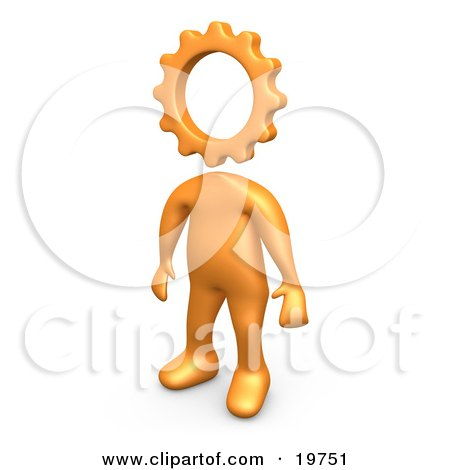 Clipart Graphic of a Creative Cog Headed Orange Person by 3poD