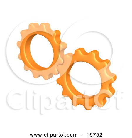 Pair of Orange Cogs Turning Gears Together Posters, Art Prints