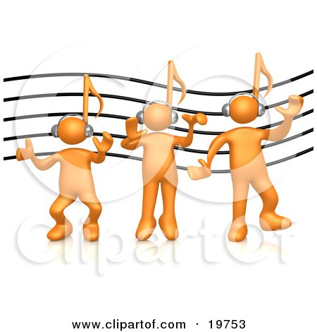 Group of Three Orange People With Music Note Heads, Listening to Headphones Over a Music Staff Posters, Art Prints