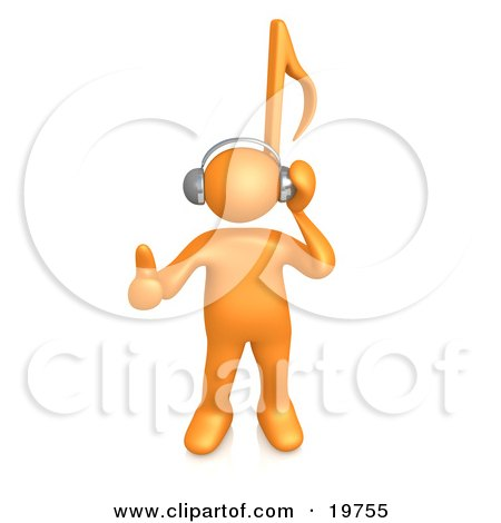 Clipart Graphic of an Orange Person With A Music Note Head by 3poD