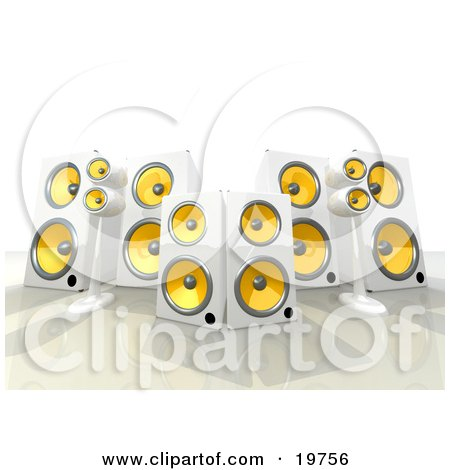 Clipart Graphic of a Group Of White And Yellow Surround Sound Speakers by 3poD