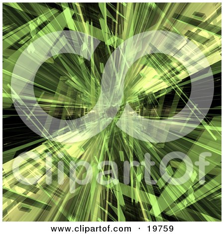Clipart Graphic of a Background of Green Crystalized Shapes of Light Over Black by 3poD