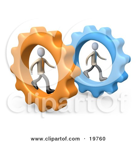 Clipart Graphic of Two Businessmen In Cogs, Racing Eachother, Symbolizing Competition by 3poD