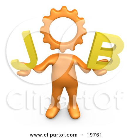 Clipart Graphic of an Orange Cog Headed Person Holding Text Reading Job by 3poD