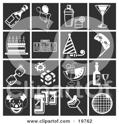 Clipart Illustration of a Collection Of White Party Icons Over A Black Background, Including A Wine Bottle, Party Balloons, Alcoholic Drink And Shaker, Martini, Birthday Cake, Stereo System, Party Hat And Blower, Mask, Sunglasses, Presents, Watermelon Bev by AtStockIllustration