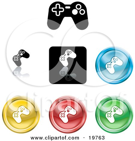 black and white game icon.  of a Collection of Different Colored Video Game Controller Icon Buttons