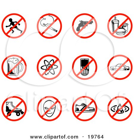Clipart Illustration of a Collection Of Restriction Icons Showing No Running, Smoking, Guns, Fast Food, Beer, Atoms, Cell Phones, Driving, Skating, Aliens, Shoes, And Bells by AtStockIllustration