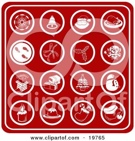 Clipart Illustration of a Collection Of Red Christmas Icons Including A Snowflake, Bell, Santa, Turkey Dinner, Footprints In Snow, Holly, Mistletoe, Elf, Chimney, Presents, Christmas Tree, Snowman, Candle, Dessert, Stocking And Santa Hat by AtStockIllustration