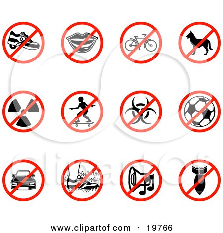 Clipart Illustration of a Collection Of Restriction Icons Showing Heelies Shoes, Talking, Bicycle, Dog, Waste, Skateboarding, Biohazard, Soccer, Parking, Walking On Grass, Noise, And A Bomb by AtStockIllustration