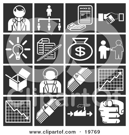 Clipart Illustration of a Collection Of White Business Icons Over A Black Background, Including A Businessman, Manager, Invoice, Handshake, Light Bulb, Documents, Money Bag, Box, Businesswoman, Cash, Chart, Graph, And Pointing Finger by AtStockIllustration