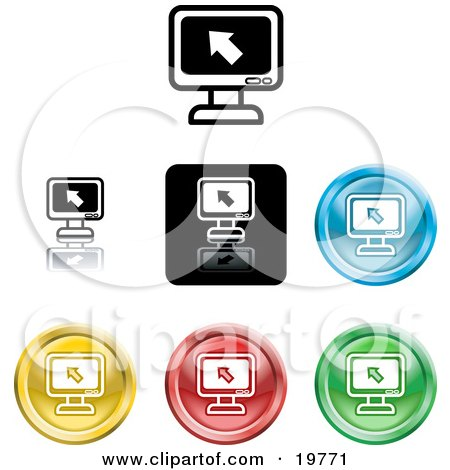 Royalty-free clipart picture of a collection of different colored computer