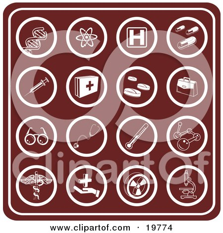 Clipart Illustration of a Collection Of Red Medical Icons Including Dna, Molecules, Hospital Signs, Pills, Syringes, First Aid Kids, Rx, Doctor Bag, Glasses, Stethoscopes, Thermometers, And Microscopes by AtStockIllustration