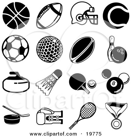 Clipart Illustration of a Collection Of Black Athletic Icons Over A White Background, Including A Basketball, Football, Helmet, Tennis Ball, Soccer Ball, Golf Ball, Rugby Ball, Bowling Ball, Shuttlecock, Ping Pong Paddle And Ball, Billiards 8 Ball, Hockey by AtStockIllustration