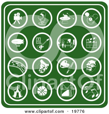 Clipart Illustration of a Collection Of Green Hobby Icons Including A Video Camera, Microphone, Magic Hat, Billiards Ball, Blimp, Guitar, Museum, Clapboard, Film Strip, Theater Mask, Paint Palette, Carnival Tent, Basketball, Tv And Music Notes by AtStockIllustration