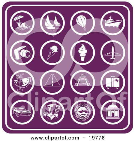 Clipart Illustration of a Collection Of Purple Travel Icons Including Lounge Chairs, Sailboats, Air Balloons, Cruise Ships, Cameras, Ice Cream, Airplanes, Cocktails, Roadways, Railways, Luggage, Rental Cars, Hotels, Sunshine And Buildings by AtStockIllustration