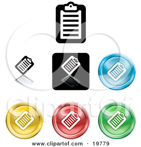 Clipart Illustration of a Collection of Different Colored Clipboard Icon Buttons by AtStockIllustration