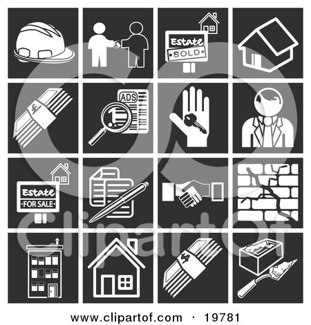 Clipart Illustration of a Collection Of White Home Construction Icons Over A Black Background, Including A Hardhat, Real Estate Agent And Client, Sold House, Home, Cash, Classified Ads, House Key, Realtor, House For Sale, Documents, Handshake, Crack In A  by AtStockIllustration