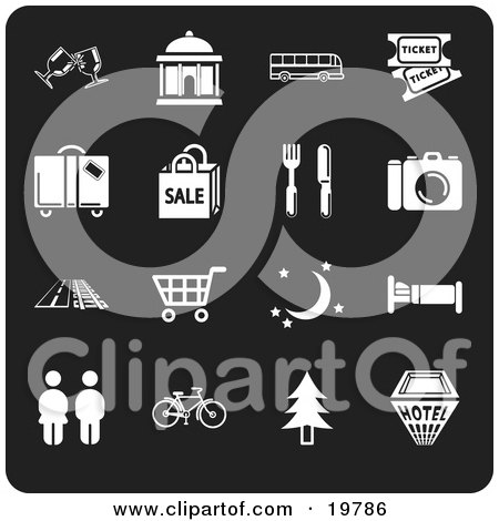 Clipart Illustration of a Collection Of Green Travel Icons For Locations Including Wine Glasses, Courthouse, Bus, Movie Tickets, Luggage, Sale, Fork And Knife, Camera, Road, Train Tracks, Shopping Cart, Moon And Stars, Bed, People, Bicycle, Tree, And A Ho by AtStockIllustration