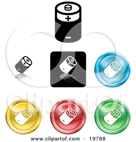 Clipart Illustration of a Collection of Different Colored Battery Button Icons by AtStockIllustration