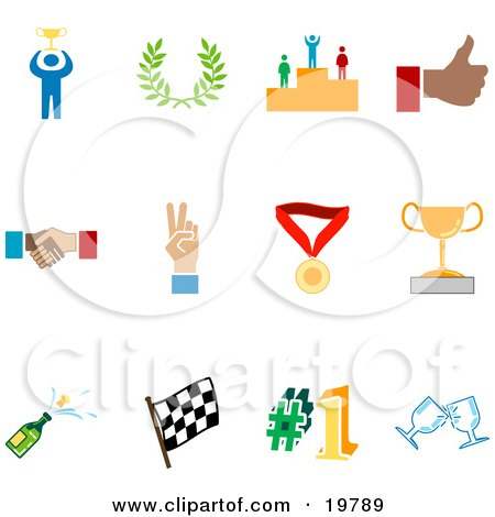 Clipart Illustration of a Collection Of Colorful Champion, Laurel, Winner, Thumbs Up, Handshake, Peace Gesture, Medal, Trophy, Champagne, Flag, Number 1 And Toasting Wine Glasses Sports Icons On A White Background by AtStockIllustration