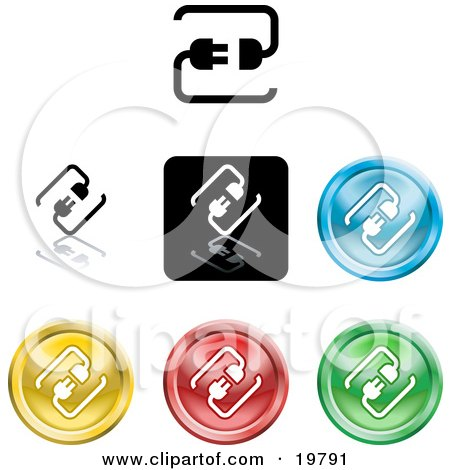 Clipart Illustration of a Collection of Different Colored Connection Icon Buttons by AtStockIllustration