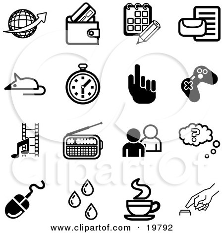 Clipart Illustration of a Collection Of Black And White Globe, Wallet, Calendar, Letter, Mouse, Stopwatch, Hand, Controller, Film Strip, Radio, People, Question, Computer Mouse, Water Drops, Java And Button Icons On A White Background by AtStockIllustration
