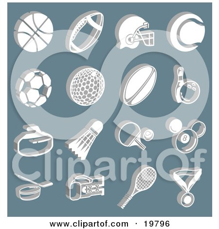 Clipart Illustration of a Collection Of White Athletic Basketball, Football, Soccer, Golf, Rugby, Bowling, Badmitten, Ping Pong, Billiards, Hockey, Tennis, And Boxing Icons Over A Blue Background by AtStockIllustration