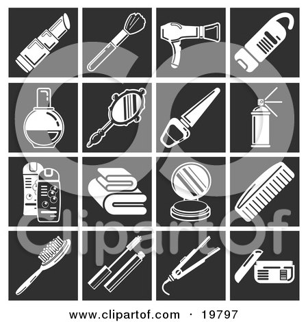 Clipart Illustration of a Collection Of White Beauty Icons Over A Black Background, Including Lipstick, Makeup Brush, Blow Dryer, Body Wash, Perfume, Hand Mirror, Nail Polish, Hair Spray, Shampoo And Conditioner, Towels, Compact Powder, Comb, Hairbrush, M by AtStockIllustration