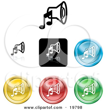 Clipart Illustration of a Collection of Different Colored Music Speaker Icon Buttons by AtStockIllustration