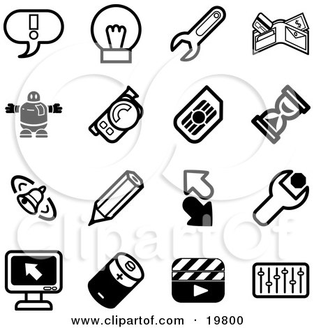 Clipart Illustration of a Collection Of Black And White Exclamation Point, Lightbulb, Wrench, Wallet, Robot, Camera, Hourglass, Bell, Pencil, Arrows, Computer, Battery, Clapboard, And Equalizer Icons On A White Background by AtStockIllustration