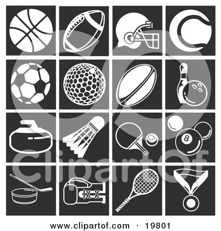 Clipart Illustration of a Collection Of White Sports Icons Over A Black Background, Including A Basketball, Football, Football Helmet, Tennis Ball, Soccer Ball, Golf Ball, Rugby Ball, Pin And Bowling Ball, Curling Stone, Shuttlecock, Ping Pong Ball And Pa by AtStockIllustration