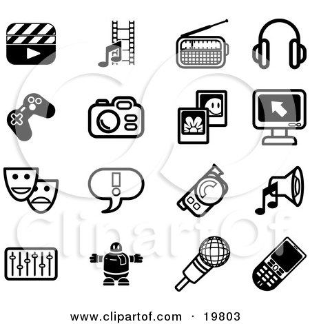 Clipart Illustration of a Collection Of Black And White Clapboard, Film Strip, Radio, Headphones, Controller, Camera, Pictures, Computer, Masks, Exclamation Point, Video Camera, Speaker, Equalizer, Robot, Microphone And Cell Phone Icons On A White Backgro by AtStockIllustration