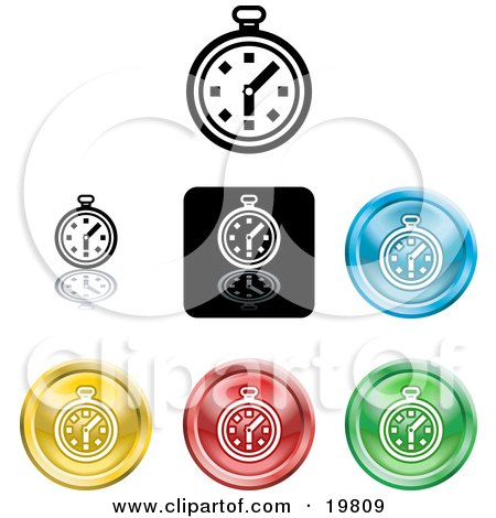 Clipart Illustration of a Collection of Different Colored Stop Watch Icon Buttons by AtStockIllustration