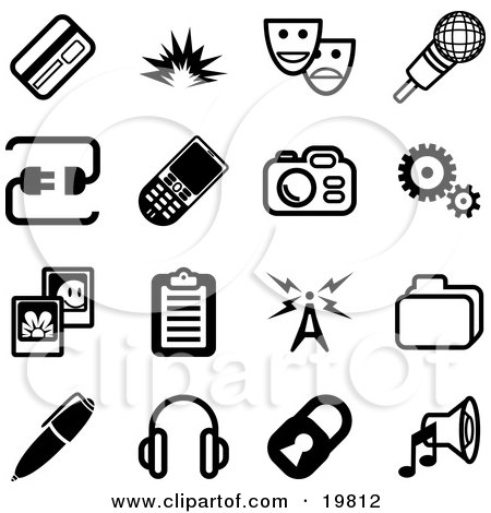 Clipart Illustration of a Collection Of Black And White Credit Card, Masks, Microphone, Connection, Cellphone, Camera, Cogs, Pictures, Clipboard, Communications Tower, Files, Pen, Headphones, Padlock And Speaker Icons On A White Background by AtStockIllustration
